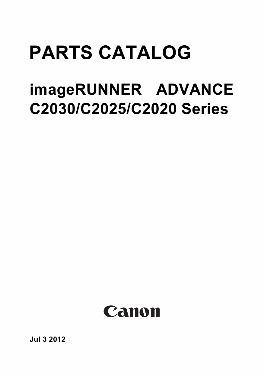Canon imageRUNNER-ADVANCE iR-C2030 C2025 C2020 Parts Catalog Manual-1